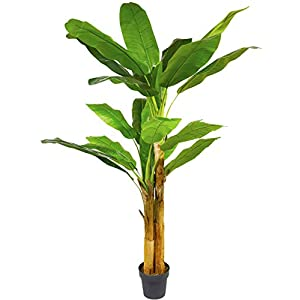 Artificial Boxwood Topiary Tree Artificial Banana Tree Fake Silk Plant with UV Protection,6.6 ft Faux Topiary Tree Outdoor Faux Banana Tree
