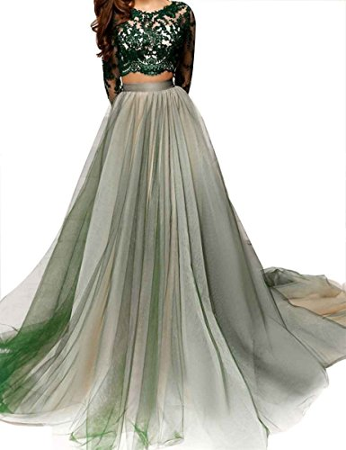 LastBridal Women Lace Long Sleeves Two Piece Prom Dresses Long 2018 Formal Party Evening Gown LB0139 US 2 Green Iowa