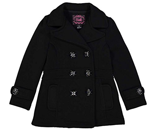 unik Girl Fleece Coat with Buttons, Black Size Small
