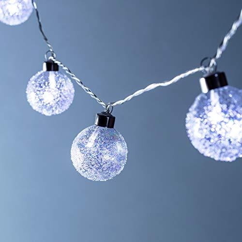 Lights4fun Guirlande Lumineuse 10 Boules de Noël en Verre Givré à LED Blanche