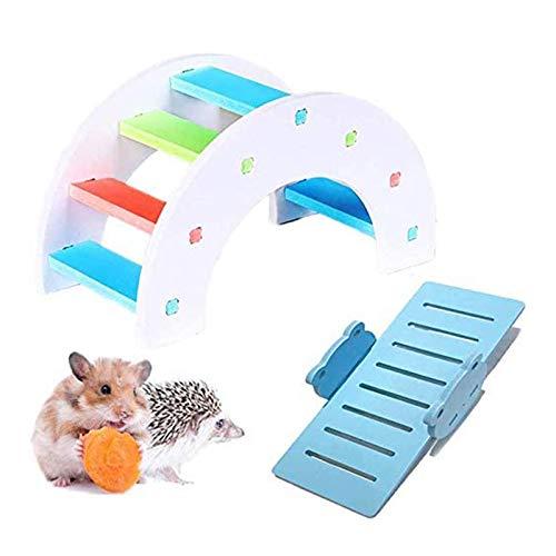 Jouets pour hamster, pont arc-en-ciel en bois avec scie de mer en PVC - Idéal pour le nid de hamster, la souris, le hérisson et le lézard de petits animaux (couleur aléatoire)