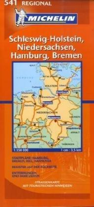 Schleswig Holstein, Hamburg, Niedersachsen: 1:350000 (Michelin Regional Maps)