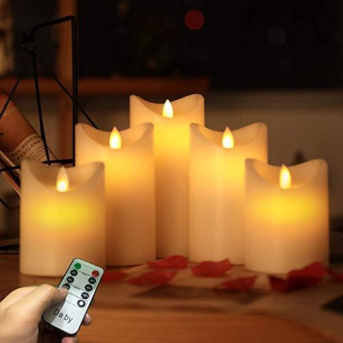 Candele LED di Da by, Senza Fiamma Altezza 10 cm × 2, 13,5 cm × 2, 16,5 cm × 1; Diametro 8 cm; Candela Batteria ultimo Stile 5PCS