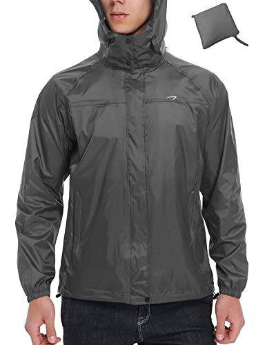 Men's Waterproof Rain Jacket Fishing Running Cycling Lightweight Packable Hiking Windbreaker Hooded (Grey M)