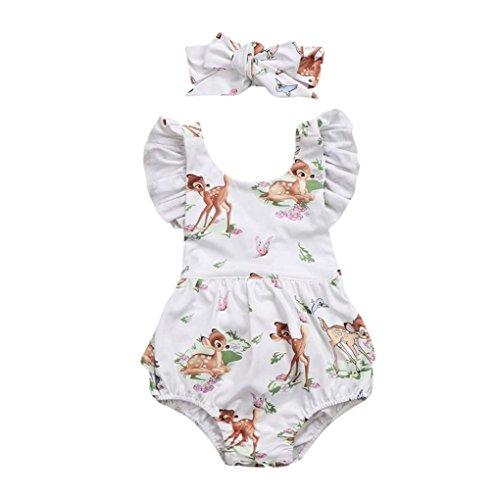 Lanhui Toddler Baby Girl Clothes Deer Romper Headband 2Pcs Set Outfit (Beige, 3M)
