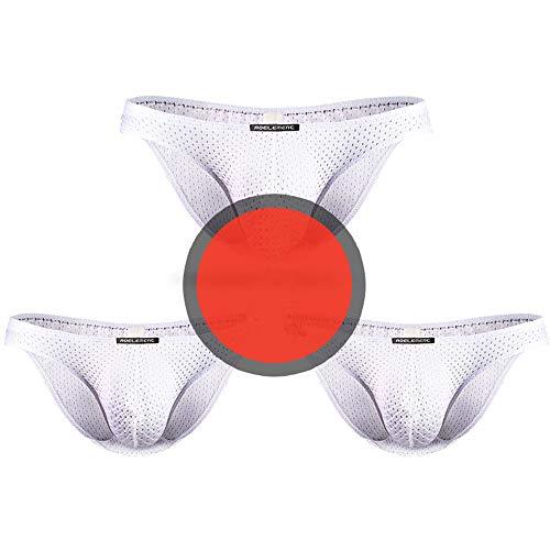 Jungerhouse 3 Pack Low-Rise Dessous Slips G-String Tanga für Herren sexy Unterwäsche Underwear Männer Sportunterwäsche Brief (XXL,weiß+weiß+weiß)