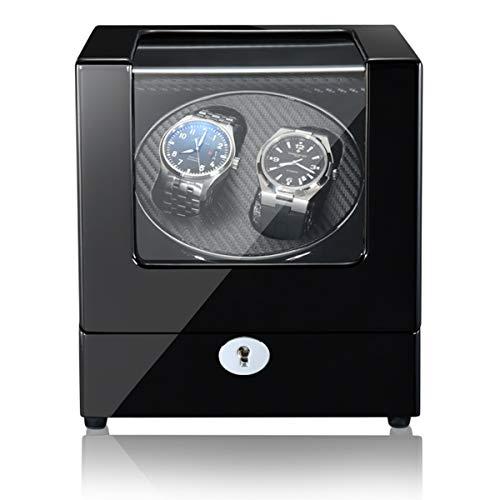 LSRRYD Cajas Giratorias para Relojes Watch Winder Motor Silencioso 5 Tipos Modos Funcionamiento Doble Usos Batería Adaptador (Color : Black-A, Size : 2+0)