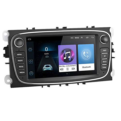 Android 9.1 8 Core 2.5D Pantalla Estéreo para automóvil Navegación por satélite Radio DVD Control del volante Reproductor de video Navegación GPS multimedia para Ford Focus II (2008(Color:WiFi 2G+32G)