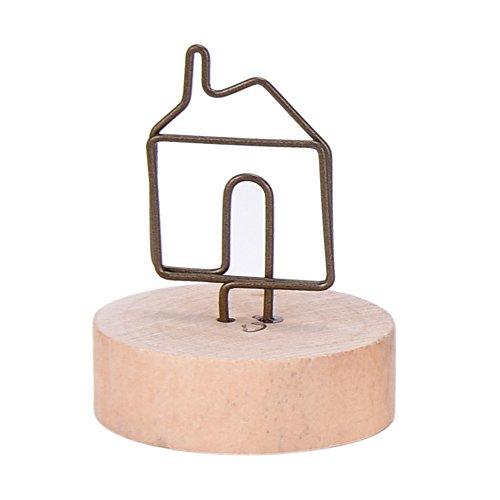 かわいい 木製 ナチュラル ウッド 写真 フォト クリップ ホルダー メモ スタンド カードホルダー メッセージ カード 立て メモ挟み インテリア (017 house �@)