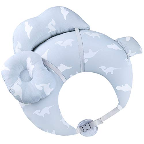 Breast Feeding Pillows for Babies, OMORC Nursing Pillows for Breastfeeding, 100% Pure Cotton Baby Nursing Pillows, Waterproof Baby Lounger Pillow with Detachable Headrest & Backrest