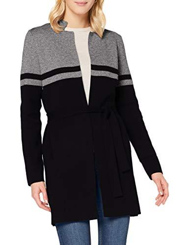 Morgan Gilet Long Bicolore Ceinturé Mbass Suéter, Gris Chine/Noir, TL para Mujer