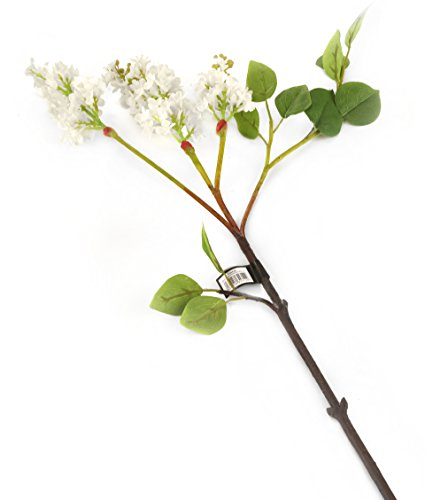 Floral Elegance Artificiel 76 cm Tige Simple Blanc Lilas Fleurs x 12 – Gamme Fleurs Artificielles Soie