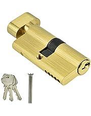 Cilindro de cierre simple de cobre de 65 mm Cilindro de bloqueo de cobre completo Cilindro de bloqueo del orificio del polipasto Cilindro de bloqueo de la puerta del dormitorio con llaves para puertas