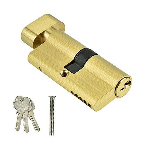 Cilindro de cerradura de puerta con llaves, cilindro de cerradura de puerta antirrobo de cobre simple abierto de 65 mm, resistente a la corrosión y antioxidante, adecuado para puertas de madera, puert