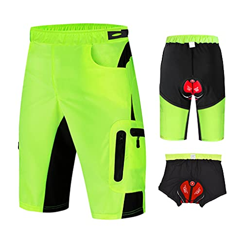 Pantalon Enduro MTB Holgado con Badana Gel 3D Culotte Transpirable Pantalon Cortos MTB Hombre Pantalon Mountain Bike Cintura Ajustable con 7 Bolsillos Ropa de Ciclismo MTB,Verde,XL