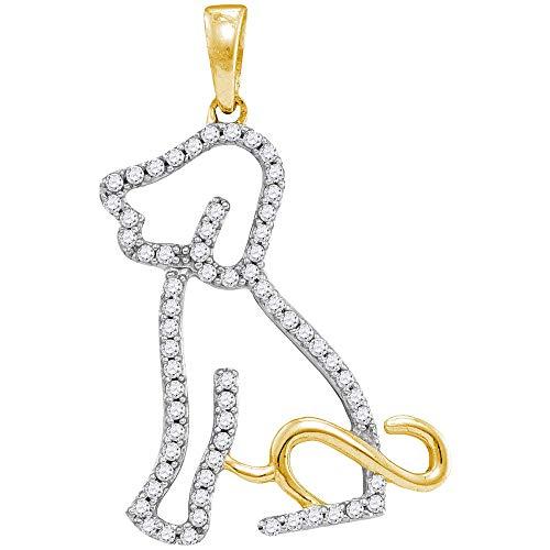 Saris and Things 10k oro amarillo redondo para mujer perro perrito perrito de diamante colgante 1/5 cttw