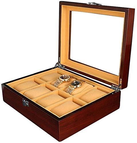 BRFDC Caja de Relojes de Cuero Caja de Reloj de la Tabla Joyero Caja de Almacenamiento Caja de exhibición del Reloj de 8 bits de Pintura de Madera Caja de Reloj Ideal for O Seguir Este Uso Tienda