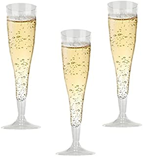 High Quality Hard Plastic Clear Champagne Flutes. 6 Ounce Capacity, Set of 18 Disposable Glass Drinkware.