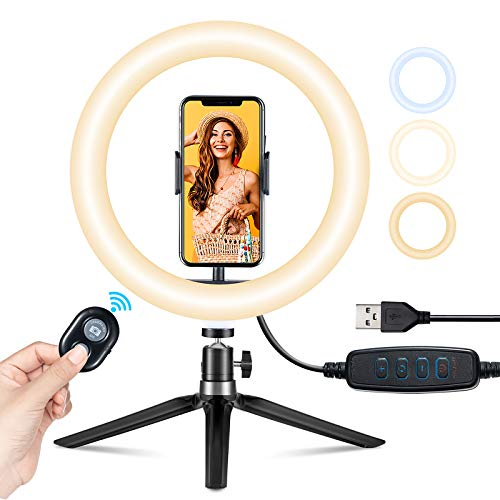VicTsing Ring Light Telefono LED, Luce per Selfie, Ring Light Tiktok 10' (25.4 cm) per YouTube, Desktop con Treppiede a 360°, iPhone Holder, 3 Modalità&10 Luminosità, Makeup, Selfie, Zoom Meeting ecc