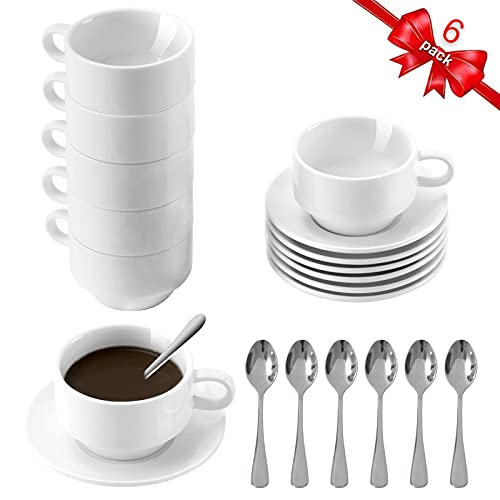 Porcelain Espresso Cups with Saucers and Spoons Set of 6, DeeCoo 3.5 oz Coffee Cup and Saucer Set, Stackable Espresso Mugs, Small Demitasse Cup with Handle, Tiny Coffee Mugs Set