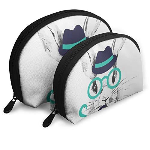 Hipster Lapin Pochette de rangement portable pour pinceaux de maquillage, rouge à lèvres, sac à main, pochette de toilette, 2 pièces