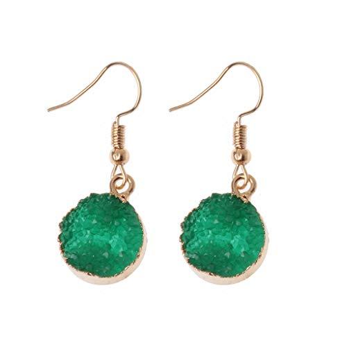 KOFUN Druzy - Pendientes de piedra con forma de gota redondos de cuarzo natural, geoda de cristal, color verde