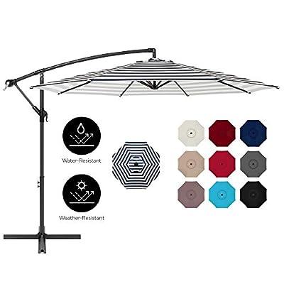 Best Choice Products 10ft Offset Hanging Outdoor Market Patio Umbrella w/Easy Tilt Adjustment - Navy Stripe