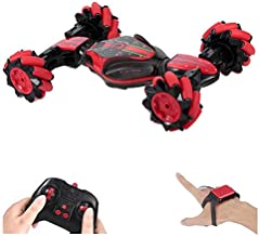GoolRC RC Stunt Car, 4WD 2.4GHz Remote Control Car, Deformable All-Terrain Off Road Car, 360 Degree Flips Double Sided Rotating Race Car with Gesture Sensor Watch Lights Music for Kids (Red)