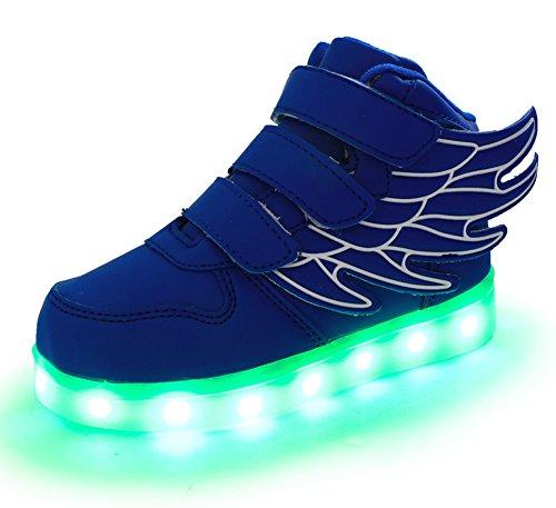 Ausom Kid Boy Girl Upgraded USB Charging LED Light Up Sport Wings Shoes Flashing Fashion Sneakers Dark Blue