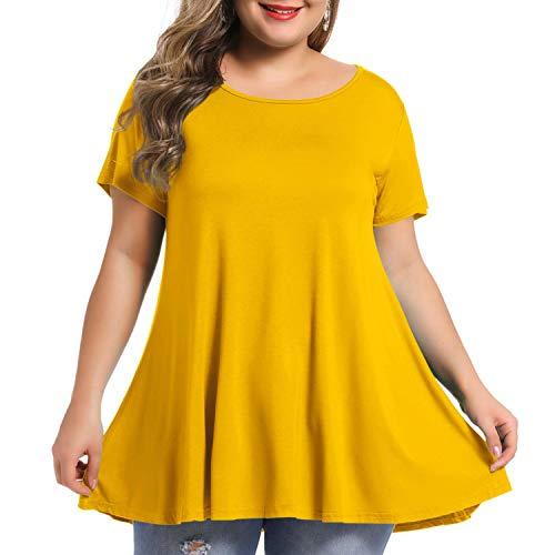 BELAROI Women's Short Sleeve Tunic Tops Plus Size Summer T Shirt for Leggings(3X,Yellow)