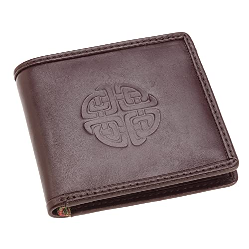 Celtic Weave Scottish Tweed Leather Wallet Celtic Knot embossed with Islay Tweed lining inside Black Bifold Wallet for men. Made by Leather Guild Design Studio of Scotland Irish Gifts