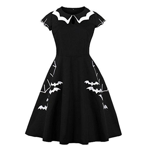 Wellwits Damen Übergröße Fledermaus Spinnennetz Stickerei Halloween Vintage Kleid Gr. 50-52, schwarz / weiß