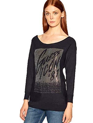 Guess - Camiseta con logotipo frontal de pedrería turquesa L