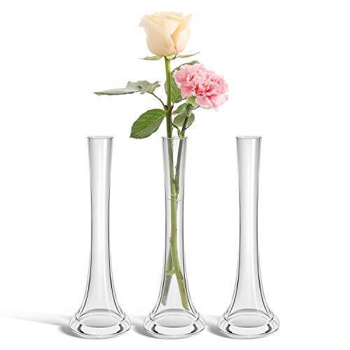ComSaf 25cm Cristallo Alto Vaso di Vetro per Il Piccolo Fiore Bottiglia Arredamento, Pieno di Colori Pacchetto di 3
