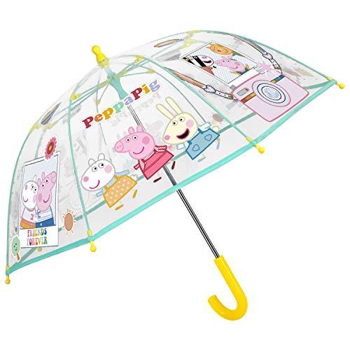 Peppa Wutz Regenschirm Transparent Kinder - Peppa Pig Kinderschirm Durchsichtig Mehrfarbig Herz - Windsicher Kinderregenschirm Blau Gelb Rosa Jungen Mädchen 3/5 Jahre - Durchmesser 64 cm - Perletti