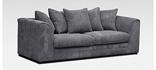 HHI - Jumbo Cord Corner Sofa, 3+2 Seater sofa Settee, Full Jumbo Cord Fabric in Grey, sofa sets for living room 3 2 (Grey, 3 Seater Sofa)