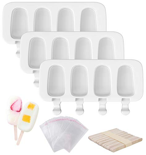 Ouddy 3 Pcs Popsicle Molds, 4 Cavities Silicone Popsicle Molds & Ice Cake Pop Mold Maker Oval with 50 Wooden Sticks & 50 Self-adhesive Bags for DIY Cake and Ice Cream