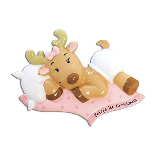 Personalized Baby's 1st Christmas Reindeer Ornament for Tree 2018 - Cute Christ-moose Girl in Pink Bed - Shower Tradition Nursery Grand-daughter Child Kid Rudolph Red Nose -Free Customization by Elves