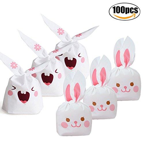 FunPa Candy Bag, Kaninchen Keks Taschen Häschen SüßIgkeits Taschen Nette Kaninchen Ohr Geschenk Verpackungs Tasche Plastik Ostern Tasche für Plätzchen Snack