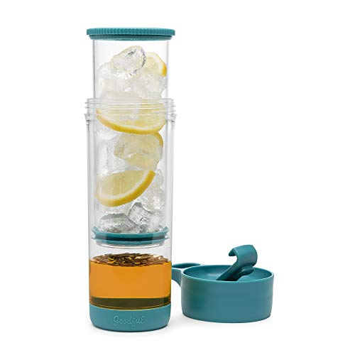 Goodful Press and Go Iced Tumbler For Loose Leaf or Bagged, Double Wall Travel Tea Mug with Stainless Steel Infuser, Leakproof, Dishwasher Safe, Teal