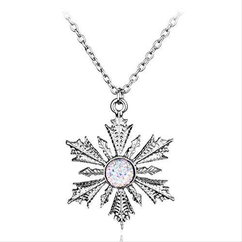 Once Upon A Time Pendant Necklace Fashion Charm Crystal Show Snowflake Elsa Pendant Jewelry for Women Statement Necklace