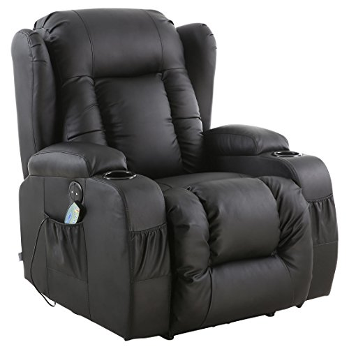 More4Homes CAESAR ELECTRIC AUTO RECLINER MASSAGE HEATED GAMING WING LOUNGE BONDED LEATHER CHAIR (Black)