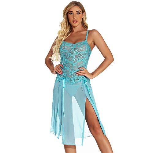 LL-partner Lencería para mujer, lencería sexy para niñas, lencería de San Valentín, ropa de dormir larga de encaje, Azul / Patchwork, 4XL