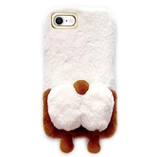 BeiMeiTu Case for iPhone Protective Case Ultra Slim Plush Case Luxury Fashion Love Cute Fuzzy Furry Winter Warm Fur 3D Plush Soft TPU Case for iPhone (iPhone SE 2020/7/8 4.7')