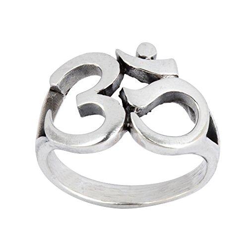 Silverly Women's Men's .925 Sterling Silver Om Aum Ohm Hindu Sanskrit Chunky Polished Ring