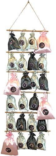 Adventskalender zum Befüllen - Strickleiter aus Holz mit 24 Geschenksäckchen zum selberfüllen (Rosa/Schwarz)