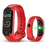 bqlove M4 Fitness Tracker, Reloj De Seguimiento De Actividad con Monitor De Ritmo CardíAco, Banda De Fitness Inteligente Resistente Al Agua con Contador De Pasos para NiñOs Mujeres Hombres (Red)
