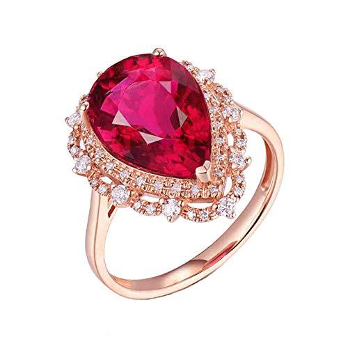 AnazoZ Anillo Turmalina Mujer,Anillos de Boda de Oro Rosa de 18K Oro Rosa y Rojo Gota de Agua Turmalina Rosa Roja 4ct Diamante 0.28ct Talla 9,5