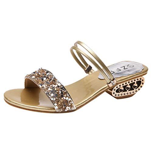 YWLINK Mode Damen Strass GläNzend Freizeit Sandalen Wilde Schuhe High Heel Open Toe Hausschuhe(Gold,EU 37.5)
