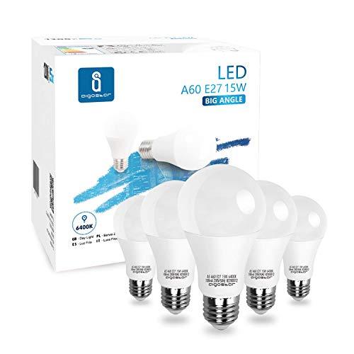 Aigostar - 15W Bombilla LED A60, casquillo gordo E27, luz blanca fría 6400K, 1200 lúmenes, ángulo de apertura 280º, CRI> 80. No regulable. Caja de 5 unidades
